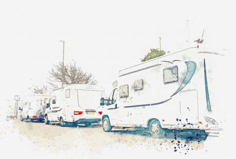 A Watercolor Sketch Or Illustration. Parking Trailers. Traveling On A House On Wheels